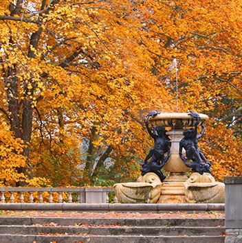 Outdoor fountain during autumn